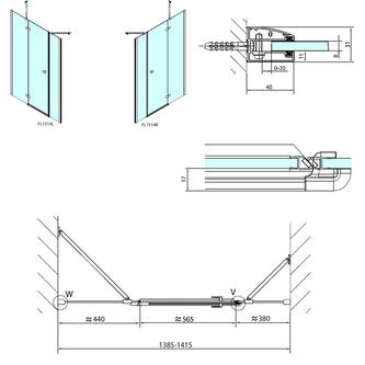 FORTIS LINE Duschtür für Nische 1400 mm, Klarglas, rechts