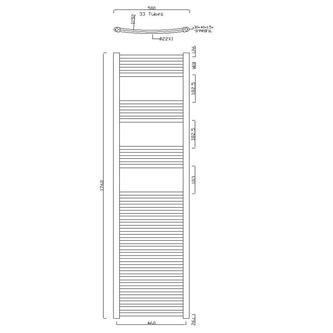 ALYA Heizkörper gebogen 500x1760mm, 689W, Chrom