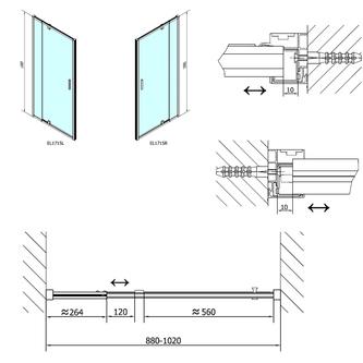 EASY LINE Drehduschtür 880-1020mm,Klarglass