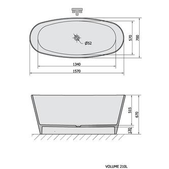 TESS freistehende Badewanne 157x70x67cm, weiß
