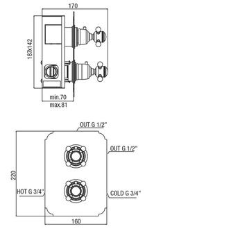 SASSARI Thermostat-Duscharmatur, 2 Wege, bronze