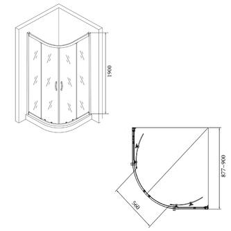Duschabtrennung Viertelkreis 900x900x1900mm, BRICK glas