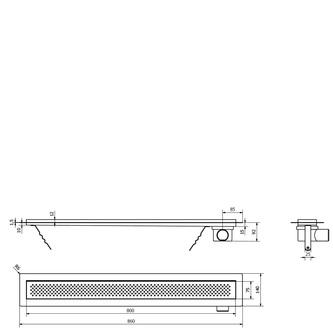 KROKUS Duschrinne mit Rost 860x140x92 mm, Edelstahl