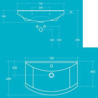 ZERO Waschtisch 75x48,5cm