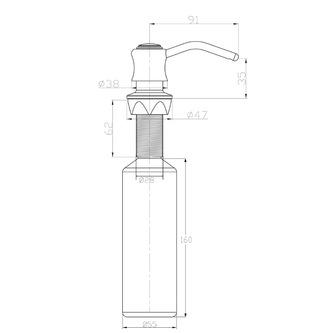 Einbau-Seifenspender, Retro-Stil, Chrom