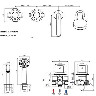4-Loch Thermostat-Wannenarmatur, Chrom