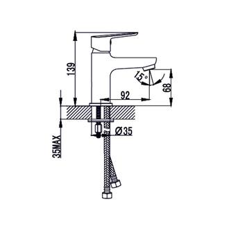 SMALL Waschtischarmatur ohne Ablaufgarnitur, 26mm, Chrom