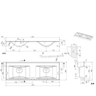 FLAVIA Gussmarmor-Doppelwaschtisch 150x50cm, weiß