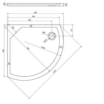 DITA 80 Duschwanne, Viertelkreis 80x80x4cm, R590