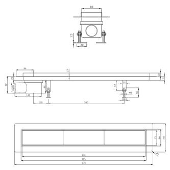FLOW 97 Duschrinne mit Rost, Edelstahl, 970x150mm