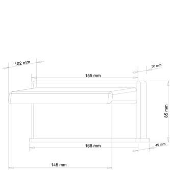 Wanneneinlauf, Breite 145mm, Kaskade, Chrom