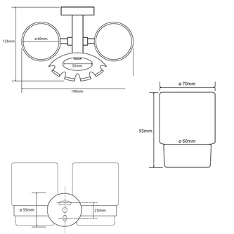 X-ROUND Zahnbürstenhalter inkl.Gläser, Chrom (104110042)