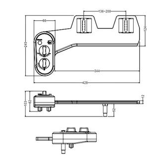 EASY CLEANING Bidet-WC Aufsatz für Kalt- und Warmwasser, Polypropylen