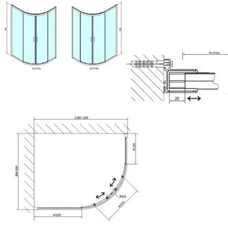 EASY LINE Duschabtrennung Viertelkreis 1200x900mm, L/R, Klarglas
