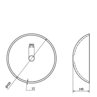 SKIN Glaswaschtisch Durchmesser 42 cm, grau metallic