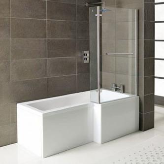 SYNA Badewanne mit Duschzone 150x85/70x38 cm, Rechts, weiß, Komplett-Set