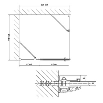 VITRA LINE Duschabtrennung Rechteck 900x1000mm, rechts, Klarglas