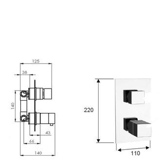 LATUS Thermostat-Duscharmatur , 2 Wege, Chrom