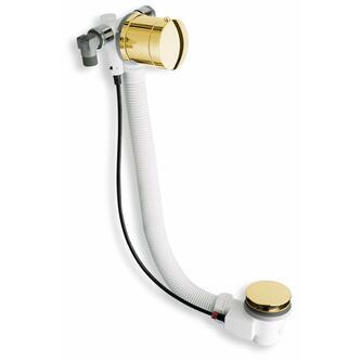 MODEL A6 Ablaufgarnitur mit Einlauf, Bowden, Länge 675mm, Stopfen 72mm, Gold
