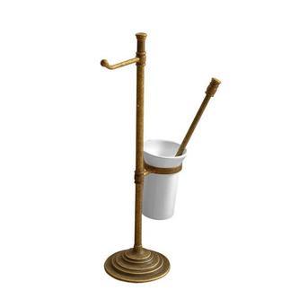 Ständer mit Toilettenpapierhalter und WC-Bürste, bronze