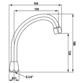 Wasserauslauf, 13cm, J-Form, Chrom