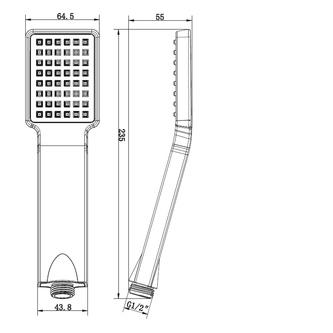 Handbrause, 1 Funktion, 235 mm, ABS/schwarz