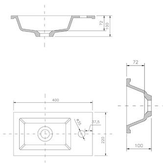 Gussmarmor-Waschtisch 40x22m, weiß