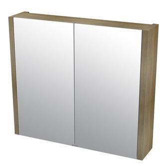 LARITA Spiegelschrank 80x70x17cm, Eiche graphite