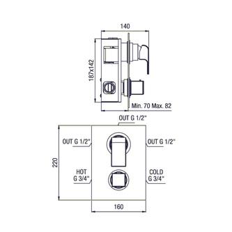 DIMY Thermostat-Dusch-Armatur , 3 Wege, Chrom