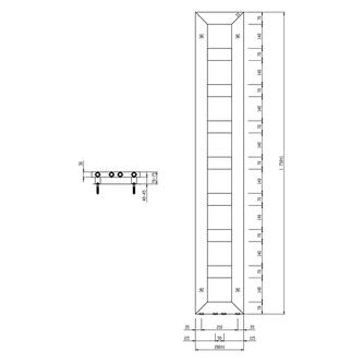 BLOCK Badheizkörper 280x1750 mm, weiss matt