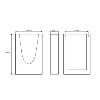 Hygienebeutel-Behälter HygBag, Edelstahl, matt, 120x250x32 mm