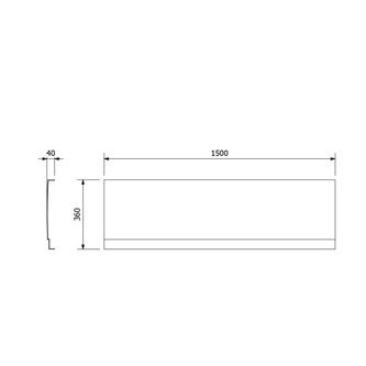 DEEP PLAIN Schürze für Nische, 150x36cm, weiß