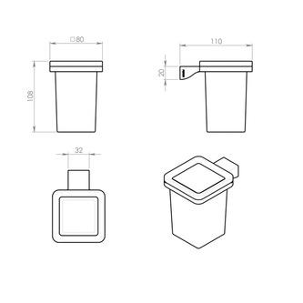 GLAMOUR Glas, Chrom/Milchglas