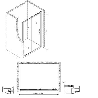 Sigma Rechteckige Duschkabine 1400x700mm L/R Variante,Klarglas