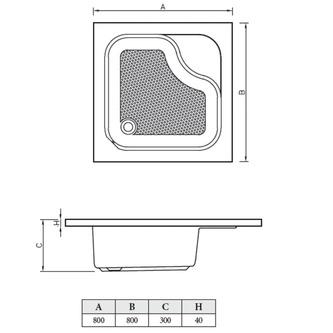Acryl-Duschwanne,  80x80x28cm inkl. Füßen,