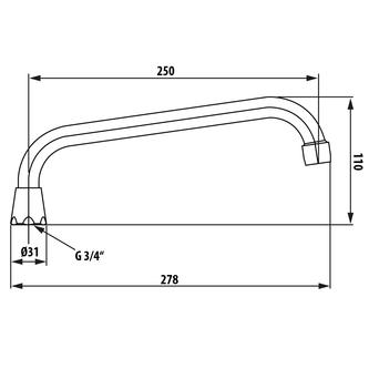 Wasserauslauf, 25cm, U-Form, Chrom