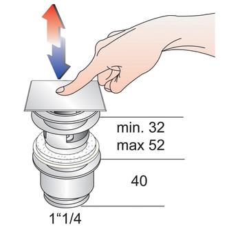 Verschließbare Ablaufgarnitur für Waschtische mit Überlauf,H. 32-52mm, Chrom