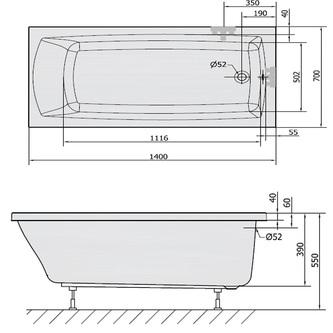 LILY 140 Rechteckwanne mit Füßen 140x70x39cm, weiß