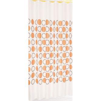 Duschvorhang 180x200cm, 100% Polyester, weiß mit orangen Kreisen