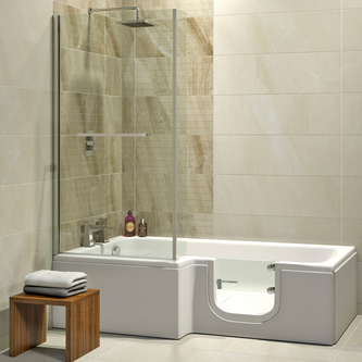 Solarna 170x85/70cm Badewanne mit Tür/Seniorenbadewanne, Links