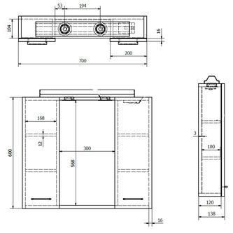 ZOJA/KERAMIA FRESH Spiegelschrank mit LED Beleuchtung 70x60x14cm, platineiche