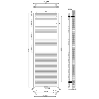 ALYA Badheizkörper gerade 600x1760 mm, Mittelanschluss, Chrom