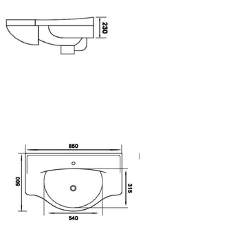 GALA Keramik-Waschtisch 85x50cm, für Badmöbel