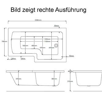 Raumspar Badewanne Syna mit Duschzone 150x85/70cm, Rechts, weiß, Komplett-Set