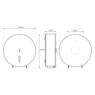 Toilettenpapierspender 205x210x115 mm, Edelstahl matt