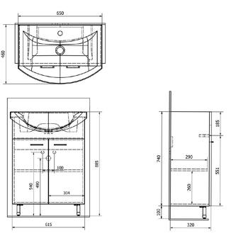 ZOJA Unterschrank 61,5x74x32,5cm, 2x Tür, mali wenge