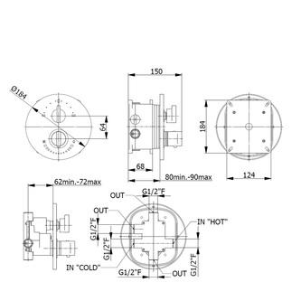 INCASSO UP Thermostat Duscharmatur, 3 Wege, mit Einbaubox,Chrom