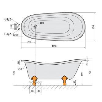 RETRO freistehende Badewanne 170x78x72cm, Füße Bronze