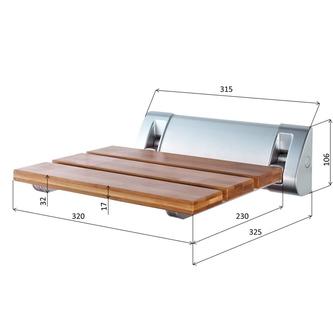 Duschklappsitz 32x23cm, Bambus