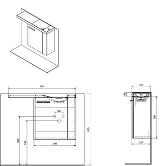 LATUS VI Unterschrank 50x50x22 cm, rechts, Kiefer Rustikal